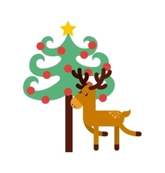 Christmas character with tree icon vector