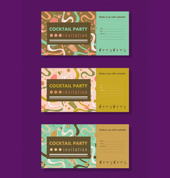 Cocktail party horizontal invitation templates vector
