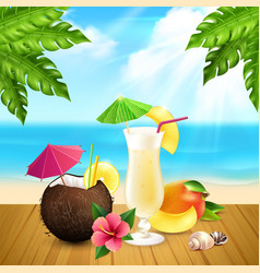 Cocktails realistic pina colada composition vector