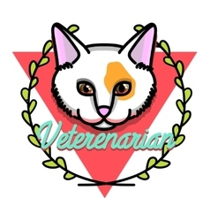 Color vintage veterinarian emblem vector image