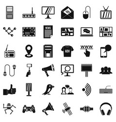 communication icons set simple style vector image