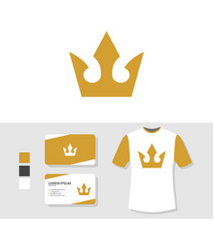 crown logo design with business card and t shirt vector image