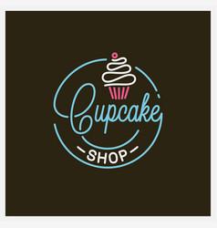 cupcake shop logo round linear logo cake store vector image