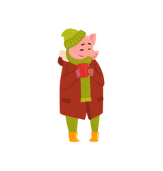 Cute funny pig standing with cup of tea piggy vector