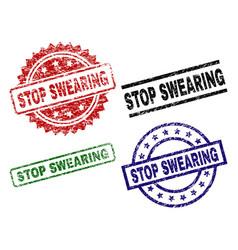 Damaged textured stop swearing stamp seals vector