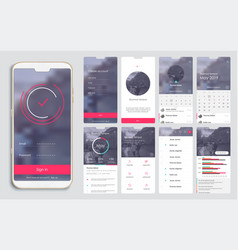 design of the mobile application ui ux a set of vector image