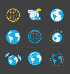 earth icons set on dark background vector image