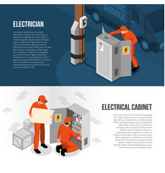 Electrician isometric banners vector