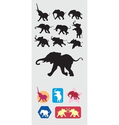 Elephant running silhouettes vector
