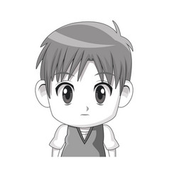 face cute anime tennager facial expression vector image