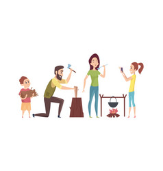 Family on camping trip tourists in nature summer vector