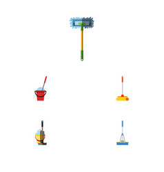 Flat icon mop set of besom cleaning bucket and vector