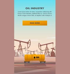 flat yellow rail tanker oil industry vector image