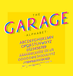 Garage font and alphabet with numbers vector