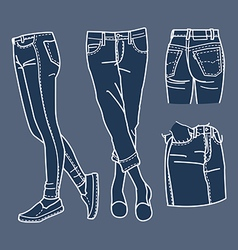 Hand drawn fashion collection of girls jeans vector