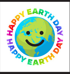 happy earth day poster bright greeting text vector image