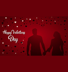 happy valentines day lettering silhouette couple vector image