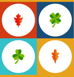 Icon flat leaf set of linden frond leafage and vector
