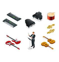 Isometric musical instruments icons vector