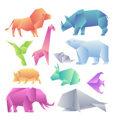 Low poly modern gradient animals set origami vector