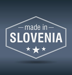 Made in slovenia hexagonal white vintage label vector