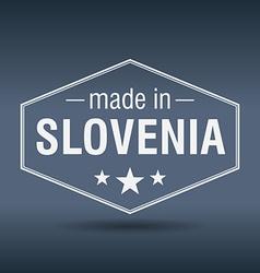 Made in Slovenia hexagonal white vintage label vector