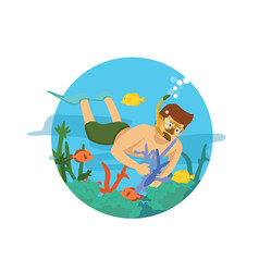 male diver swimming on the ocean vector image