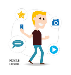 man with smartphone in the hand and technological vector image