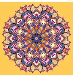 Mandala yellow circle decorative spiritual indian vector