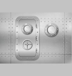 Metal door and porthole in submarine or spaceship vector