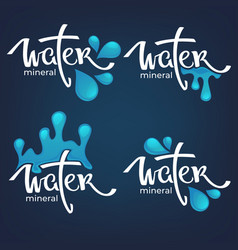 Mineral water lettering composition labels vector