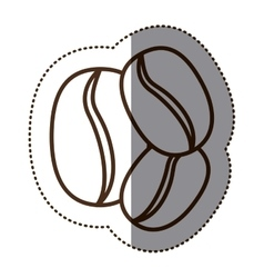monochrome sticker contour with coffee beans vector image