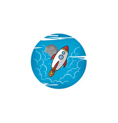 moon trip shuttle rocket logo vector image