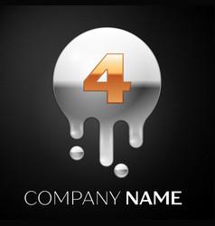 number four splash logo golden dots vector image
