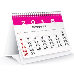October 2016 desk calendar vector image