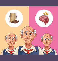 Old men patients alzheimer disease thinking vector