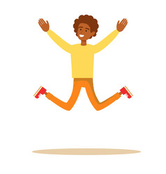 one african american man jumping vector image