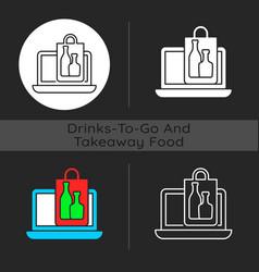 Online drinks ordering dark theme icon vector