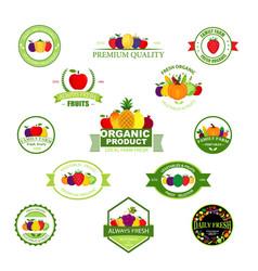 Organic farming products labels emblems vector