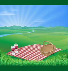 picnic in beautiful rural scene vector image