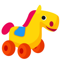 Plastic colorful horse toy on wheels isolated vector