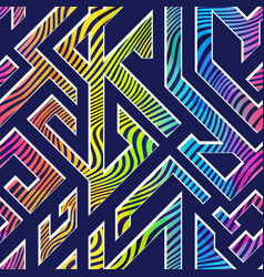 rainbow color maze seamless pattern vector image