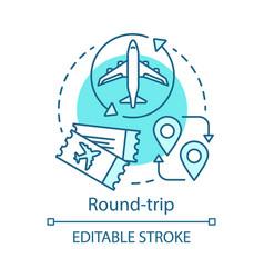 Round-trip concept icon return ticket idea thin vector