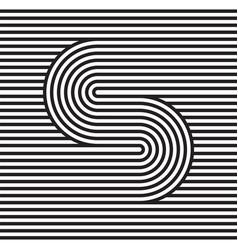 s logo monogram black and white strips vector image