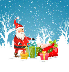 santa clause with christmas gift boxes winter vector image
