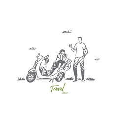 scooter travel couple adventure ride vector image