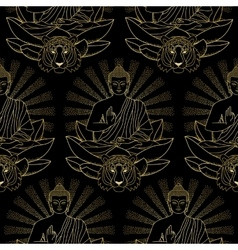 Seamless Pattern of Gold Buddha Lotus and Tiger vector