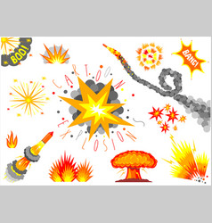 set cartoon explosions vector image