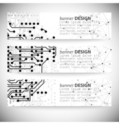 Set of horizontal banners Molecule structure gray vector