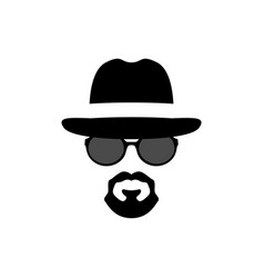 silhouette portrait of a spy-man men icon vector image